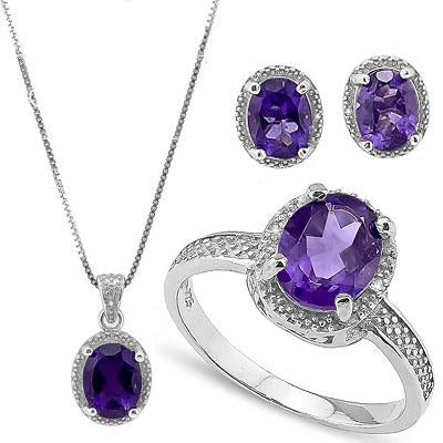 7 CARAT AMETHYST & DIAMOND 925 STERLING SILVER SET