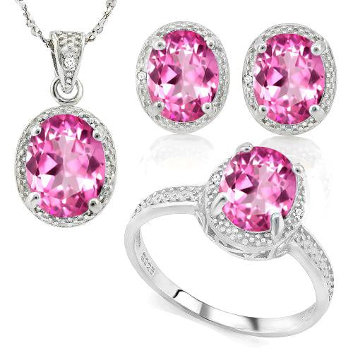 11 1/4 CARAT LAB TOURMALINE & DIAMOND 925 STERLING SILVER JEWELRY SET