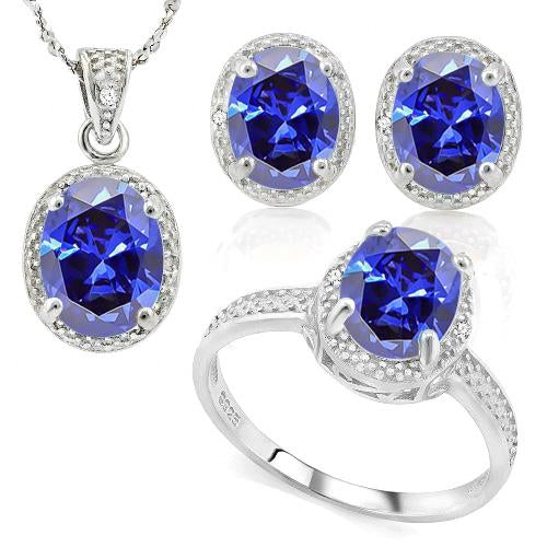 12 4/5 CARAT LAB TANZANITE & DIAMOND 925 STERLING SILVER JEWELRY SET