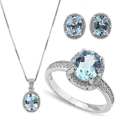 IMMENSE 9 CARAT BABY SWISS BLUE TOPAZ & DIAMOND 925 STERLING SILVER SET