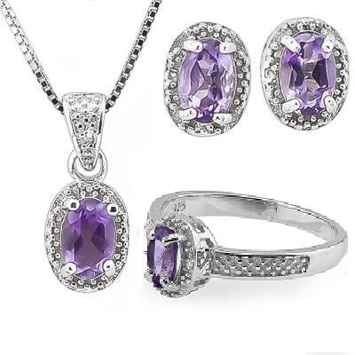 1 3/4 CARAT AMETHYST & DIAMOND 925 STERLING SILVER JEWELRY SET
