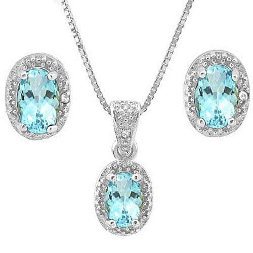 2 2/5 CARAT BABY SWISS BLUE TOPAZ & DIAMOND 925 STERLING SILVER JEWELRY SET