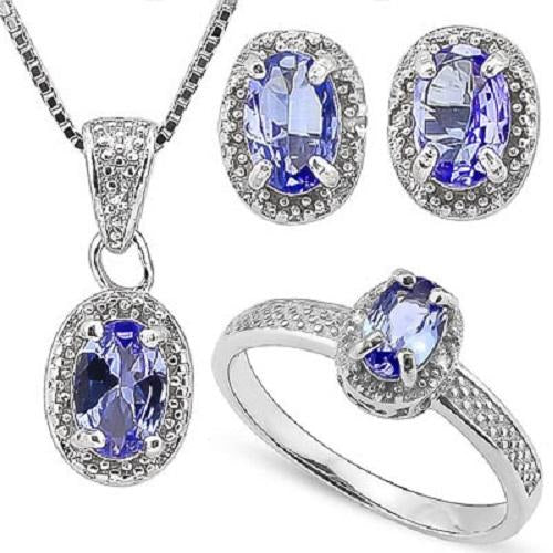 1 3/4 CARATTANZANITE & DIAMOND 925 STERLING SILVER JEWELRY SET