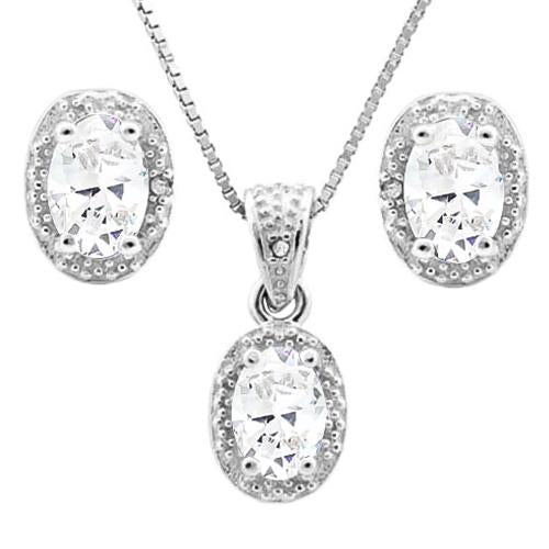 2 CARAT WHITE TOPAZ & DIAMOND 925 STERLING SILVER JEWELRY SET