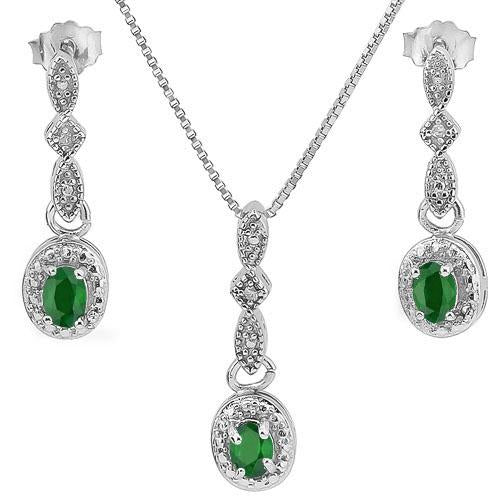 3/5 CARATEMERALD & DIAMOND 925 STERLING SILVER SETS