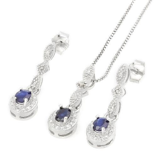 3/5 CARATSAPPHIRE & DIAMOND 925 STERLING SILVER SET