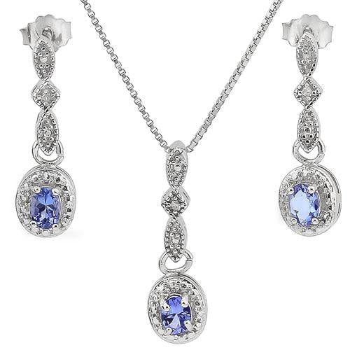 1/2 CARAT GENUINE TANZANITE & DIAMONDS 925 STERLING SILVER SET