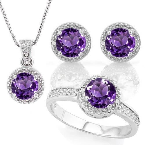3 CARAT AMETHYST & DIAMOND 925 STERLING SILVER JEWELRY SET