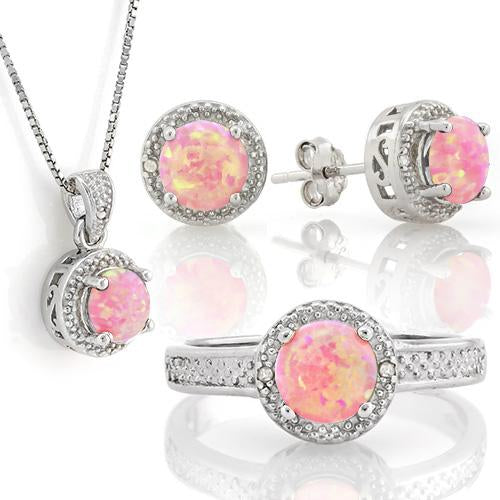 STUNNING ! 1 4/5 CARAT CREATED PINK FIRE OPAL & DIAMOND 925 STERLING SILVER SET