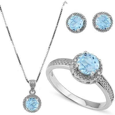3 3/4 CARAT BABY SWISS BLUE TOPAZ & DIAMOND 925 STERLING SILVER JEWELRY SET