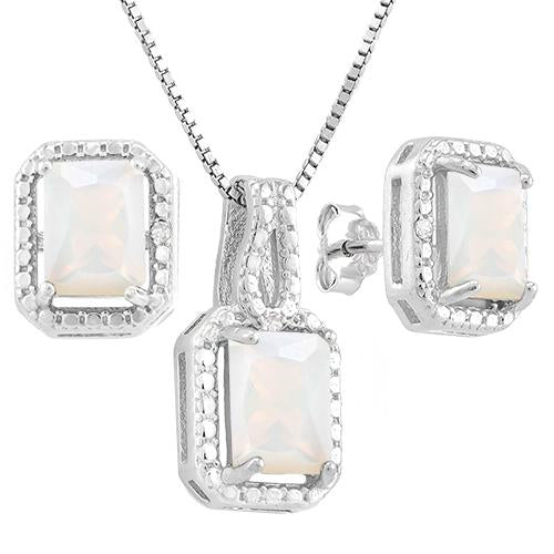 2 2/5 CARAT CREATED FIRE OPAL & DIAMOND 925 STERLING SILVER JEWELRY SET