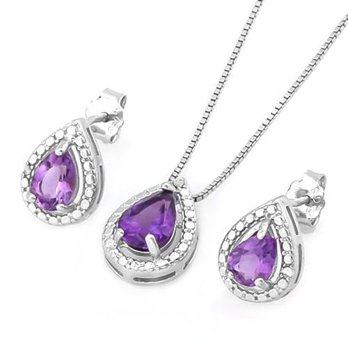 1 CARAT AMETHYST & DIAMOND 925 STERLING SILVER JEWELRY SET
