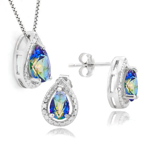1 CARAT OCEAN MYSTIC GEMSTONE & DIAMOND 925 STERLING SILVER JEWELRY SET