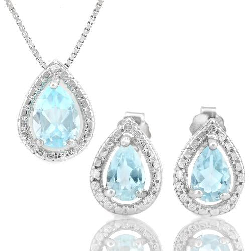 1 2/5 CARAT BABY SWISS BLUE TOPAZ & DIAMOND 925 STERLING SILVER JEWELRY SET