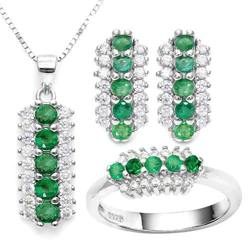 EMERALD 925 STERLING SILVER SET
