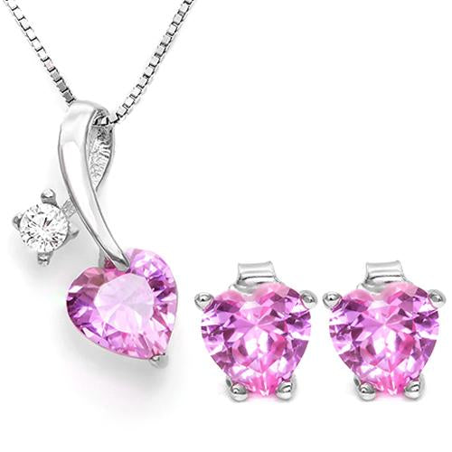 CREATED PINK SAPPHIRE 925 STERLING SILVER SET