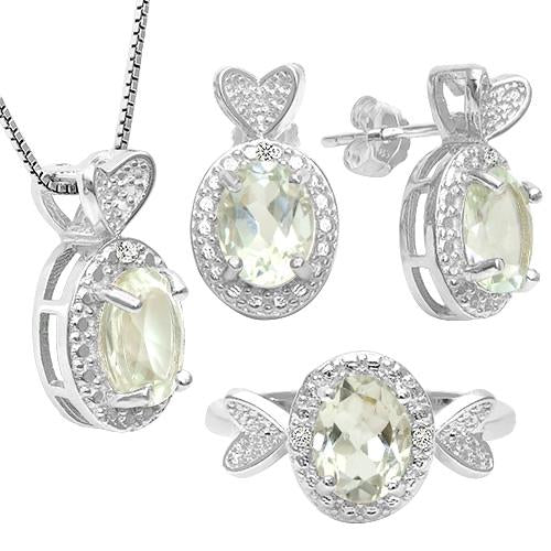 4 2/5 CARAT GREEN AMETHYST & DIAMOND 925 STERLING SILVER JEWELRY SET