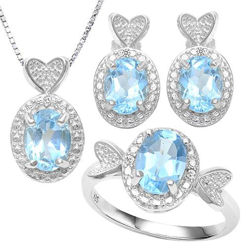 6 1/5 CARAT BABY SWISS BLUE TOPAZ & DIAMOND 925 STERLING SILVER JEWELRY SET