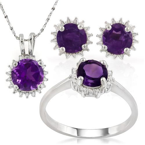 MAGNIFICENT ! 3 1/2 CARAT AMETHYST 925 STERLING SILVER SET