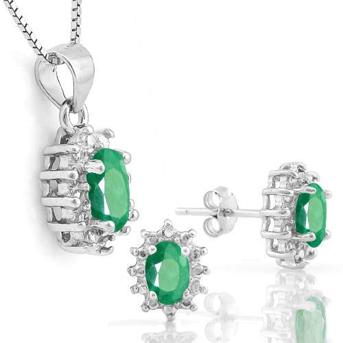 1 1/3 CARATEMERALD & DIAMOND 925 STERLING SILVER JEWELRY SET