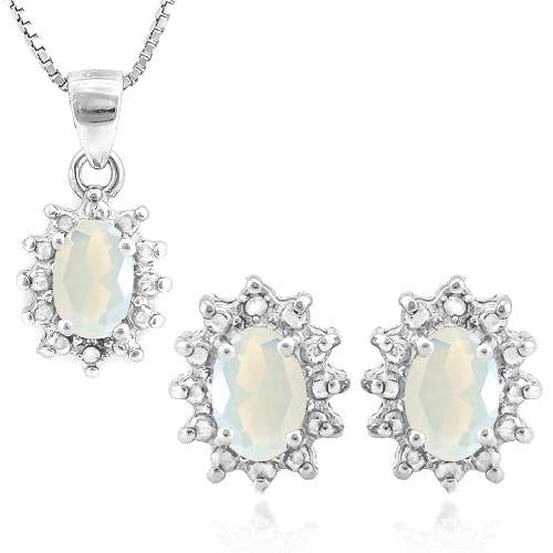 1 CARAT CREATED FIRE OPAL & DIAMOND 925 STERLING SILVER JEWELRY SET