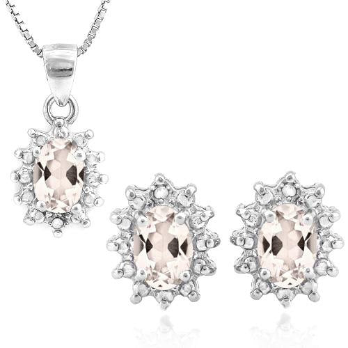 1 CARAT MORGANITE & DIAMOND 925 STERLING SILVER JEWELRY SET