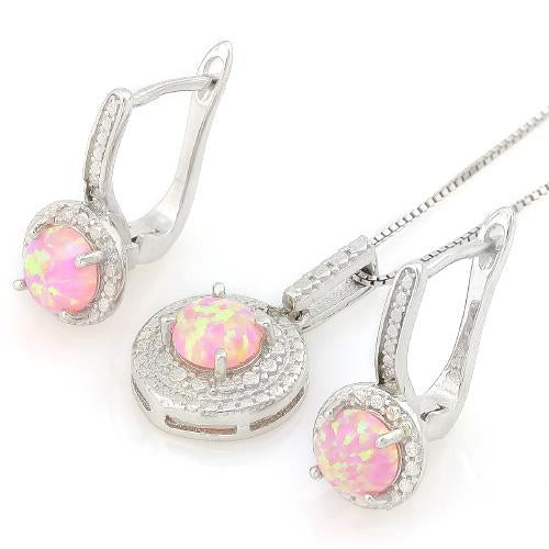 WHOPPING 1 1/3 CARAT CREATED PINK FIRE OPALS & GENUINE DIAMONDS 925 STERLING SILVER JEWELRY SET