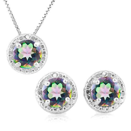 2 2/5 CARAT MYSTIC GEMSTONE & DIAMOND 925 STERLING SILVER JEWELRY SET