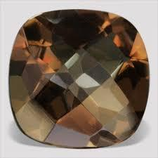 15MM  CUSHION (CHECKERBOARD) SMOKEY TOPAZ LOOSE GEMSTONE