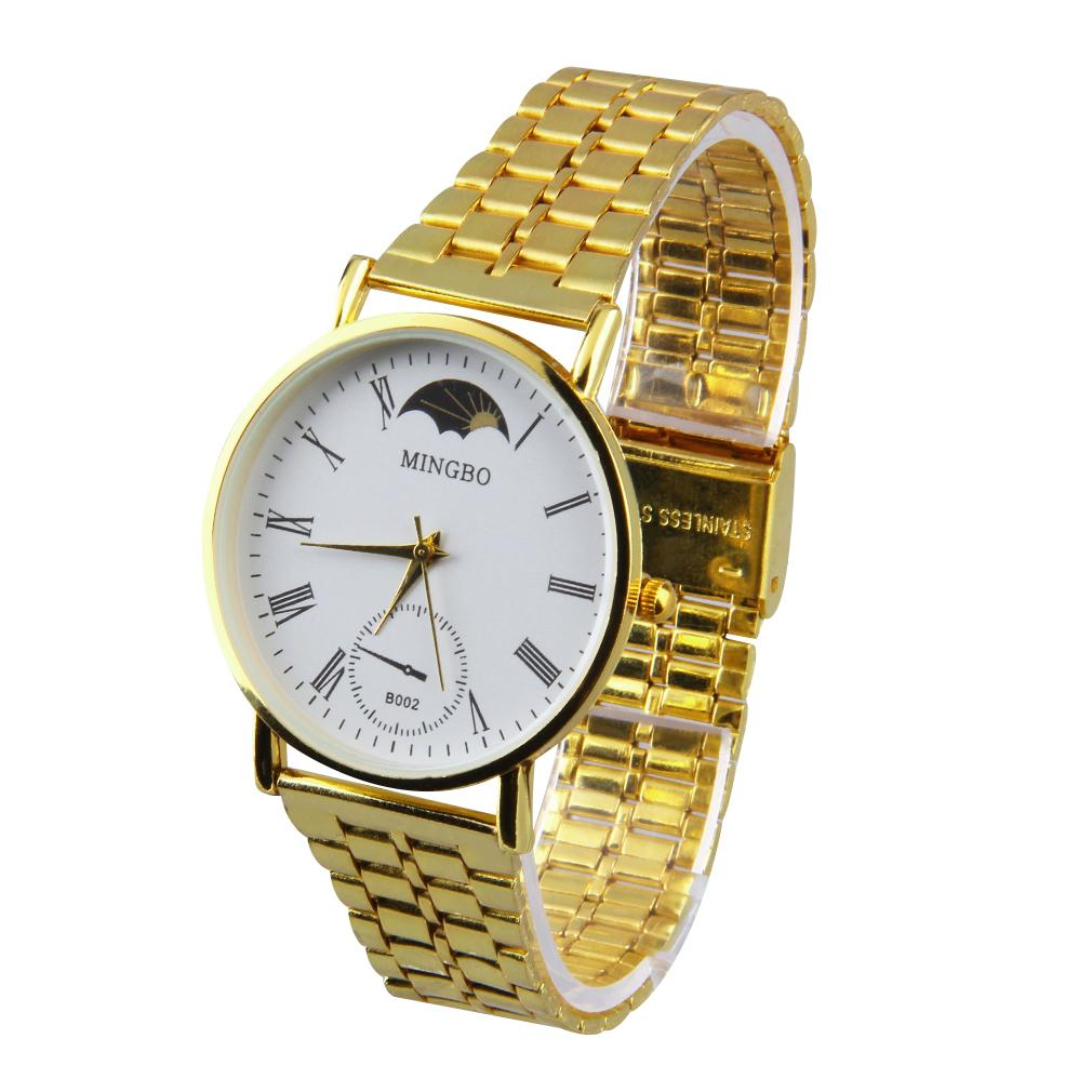 Metal Gold Bracelet Watch Band Watch Fashion Roman Numerals Stainless Steel WristWatch For Men and Women