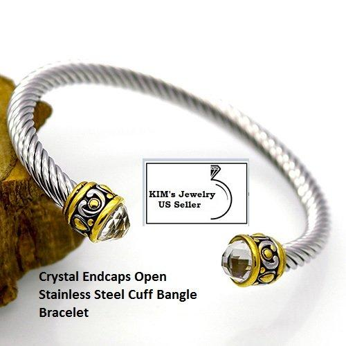 Clear Shining Stone 18k Gold- Overlay Stainless Steel Rope Twisted Open German Silver Bangle