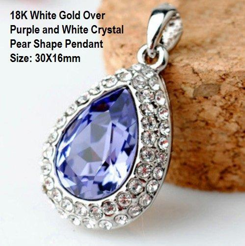 18K White Gold- Over Purple and White Crystal Pear Shape German Silver Pendant Size: 30X16mm