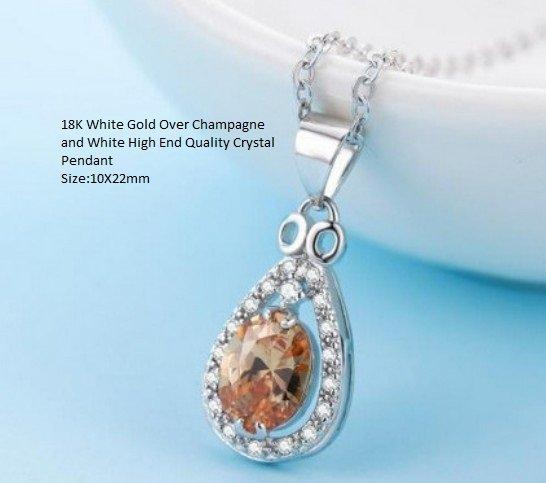 18K White Gold- Over Champagne and White High End Quality Crystal German Silver Pendant