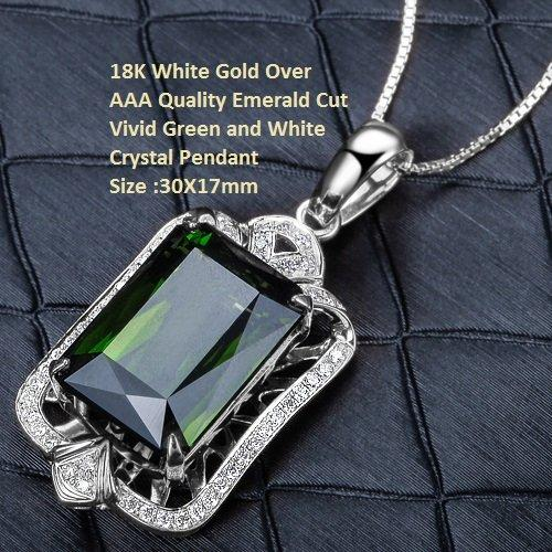 18K White Gold- Over AAA Quality Emerald Cut Vivid Green and White Crystal German Silver  Pendant