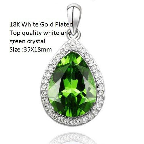 US 18K White Gold- Over Green Crystal Pear Shape German Silver Pendant