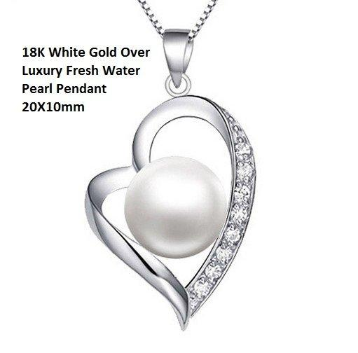 US 18K White Gold- Over Luxury Fresh Water Pearl German Silver Pendant 20X10mm