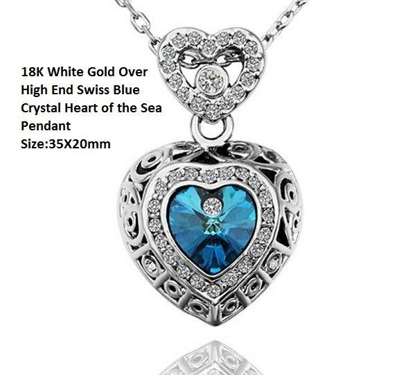 18K White Gold- Over High End Swiss Blue Crystal Heart of the Sea German Silver Pendant