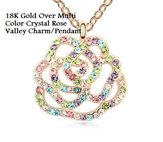 18K Gold- Over Multi Color Crystal Rose Valley German Silver Charm/Pendant