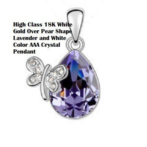US High Class 18K White-Gold Over Pear Shape Lavender and White Color AAA Crystal Fashion German Silver Pendant/Necklace