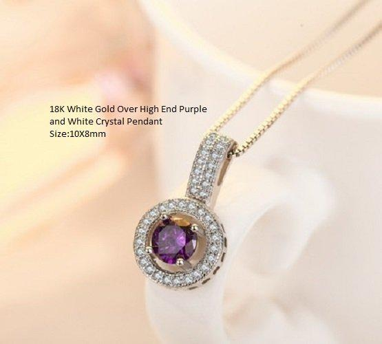 18K White Gold- Over High End Purple and White Crystal German Silver Pendant