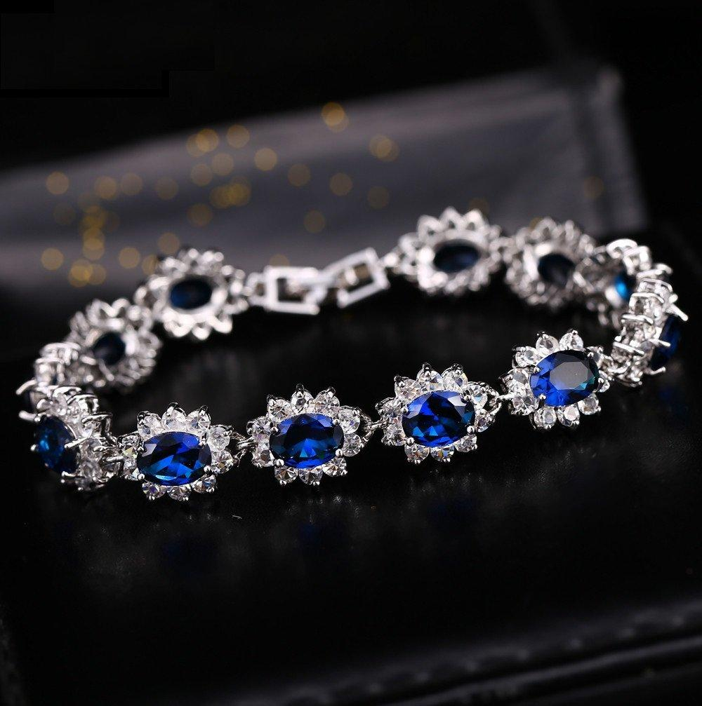 CN 14KT High Quality White Gold-Plated Blue Zicron Ladies German Silver bracelet 7.3 inches