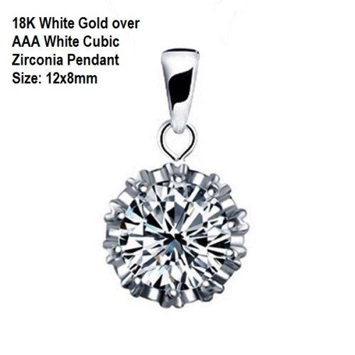 US/HK 18K White Gold- over AAA White Cubic Zirconia German Silver Pendant Size: 12x8mm