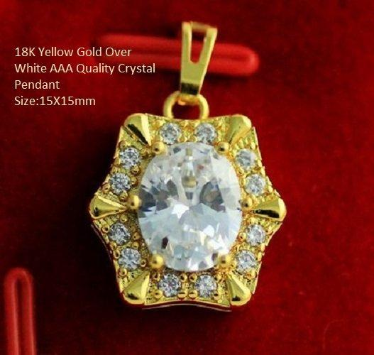 US 18K Yellow Gold- Over White AAA Quality Crystal German Silver Pendant