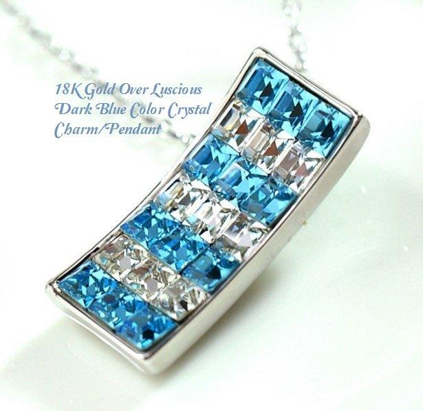 US 18K Gold-Over Luscious Dark Blue Color Crystal Fashion German Silver Charm/Pendant
