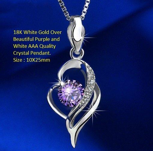 18K White-Gold Over Beautiful Purple and White AAA Quality Crystal Fashion German Silver Pendant. Size : 10X25mm