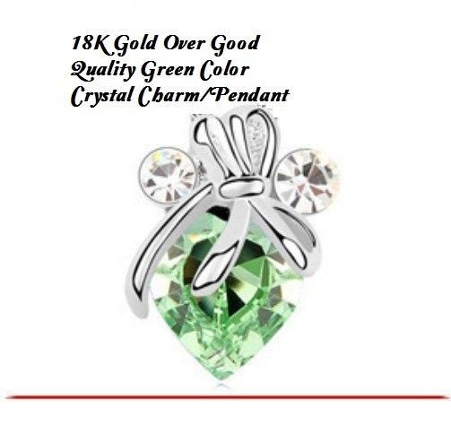 18K Gold- Over Good Quality Green Color Crystal German Silver Charm/Pendant
