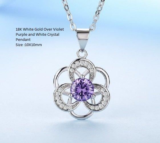 US 18K White Gold- Over Violet Purple and White Crystal German Silver Pendant