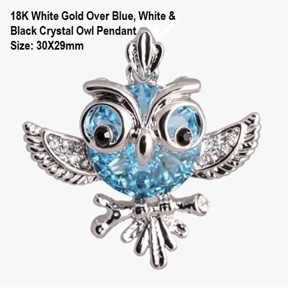 18K White Gold- Over Blue, White & Black Crystal Owl German Silver Pendant Size: 30X29mm