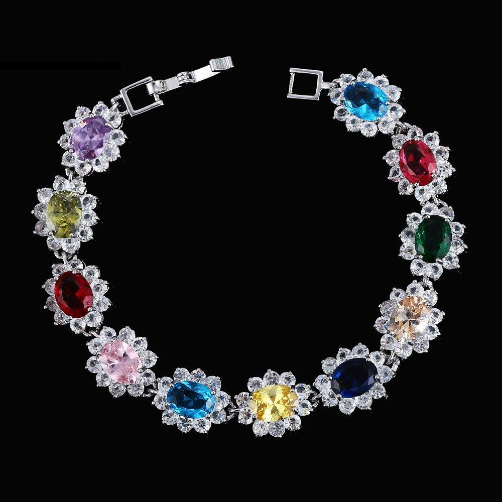 US 14KT High Quality White Gold-Plated Multi Color Zicron Ladies German Silver bracelet 7.3 inches