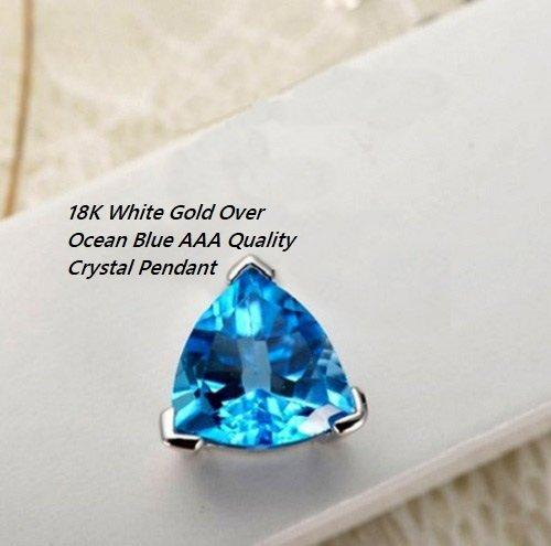 18K White Gold- Over Ocean Blue AAA Quality Crystal German Silver Pendant/Necklace